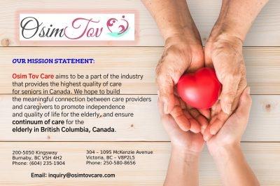 Osim Tov Care Focus: Continuum of Senior Care in British Columbia